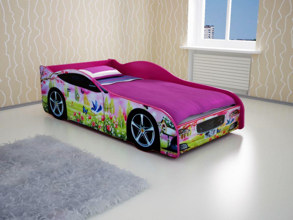 Кровать-машина Розовый лес
